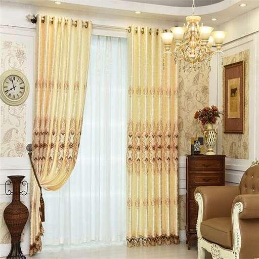 缎纹绣花窗帘 制造商