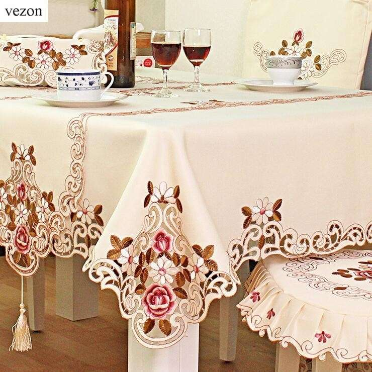 Satin Embroidery Table Cloth Manufacturers