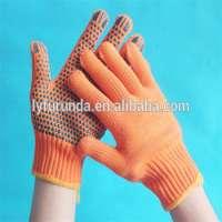 Pvc点缀橙色棉针织工作手套手工作手套
