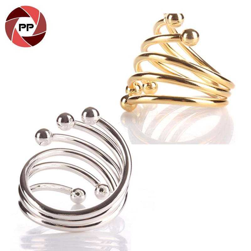 S shape metal silver & gold color napkin ring