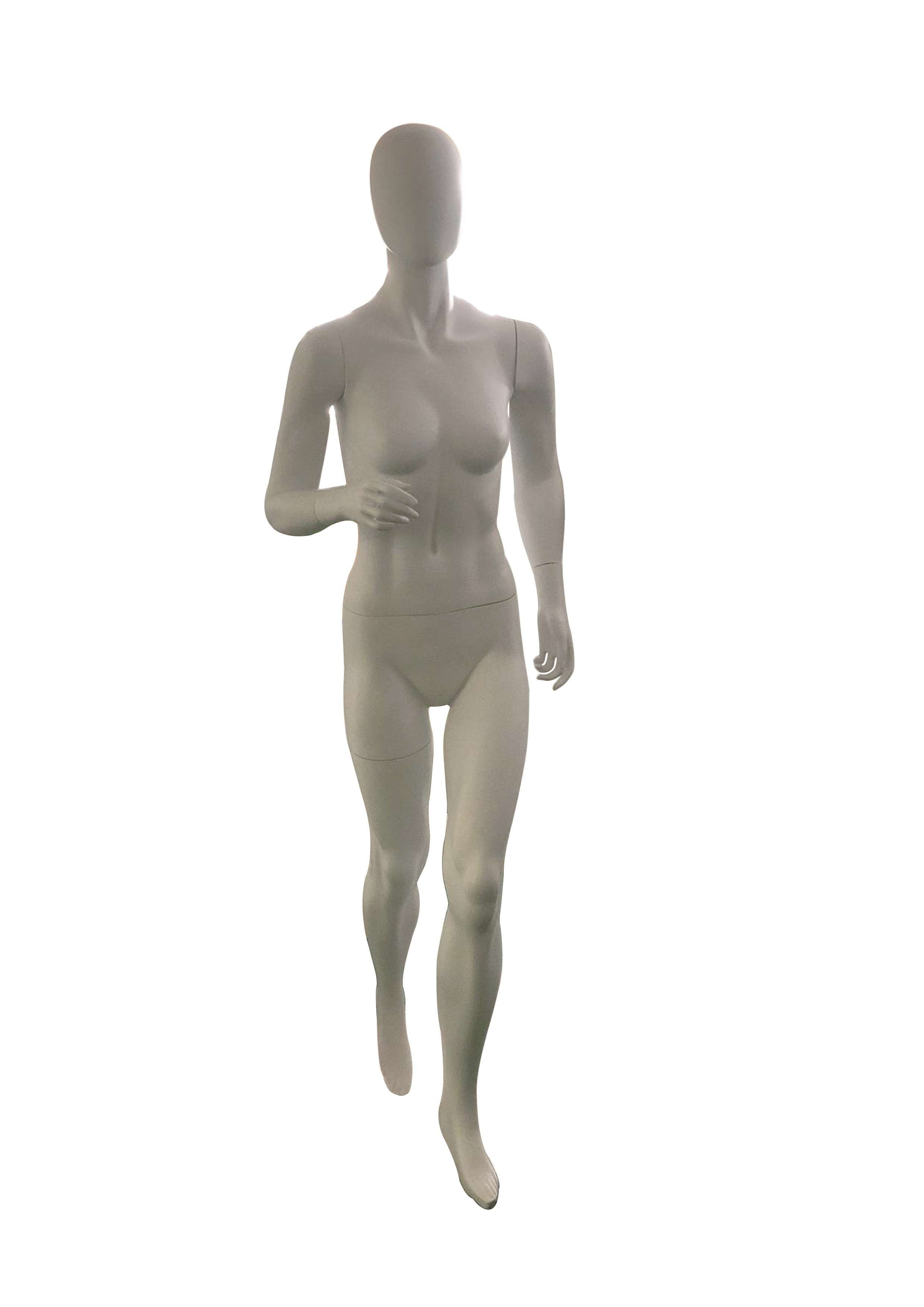 欢乐时装模特白色磨砂女性全身玻璃纤维运行egghead模特JY-HFR
