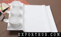 白色方形甜点盘子