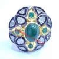 080ct维多利亚玫瑰切割钻石戒指祖母绿925银复古Polki Mughal周年婚礼派对磨损RB_002