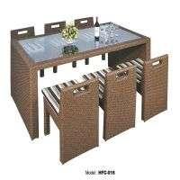 藤条和柳条户外桌子套花园家具