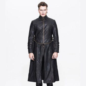 handsome men western gothic leather long coat