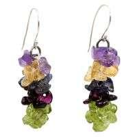 紫水晶橄榄石和黄水晶925纯银耳环PG**3798