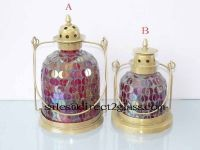 Glass Lantern Candle HolderLampshade Metal Handle