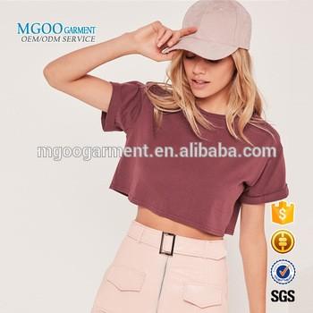 MGOO服装年轻女孩短袖露肩T恤滚袖女装棉上衣Pima棉T恤