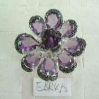 方形紫水晶戒指