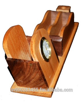 Wooden Pen Clcok Visitng card table Stand