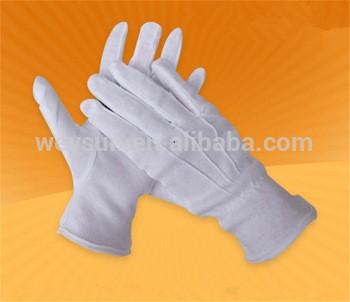 棉白工作手套礼仪命令游行司机三腱手套